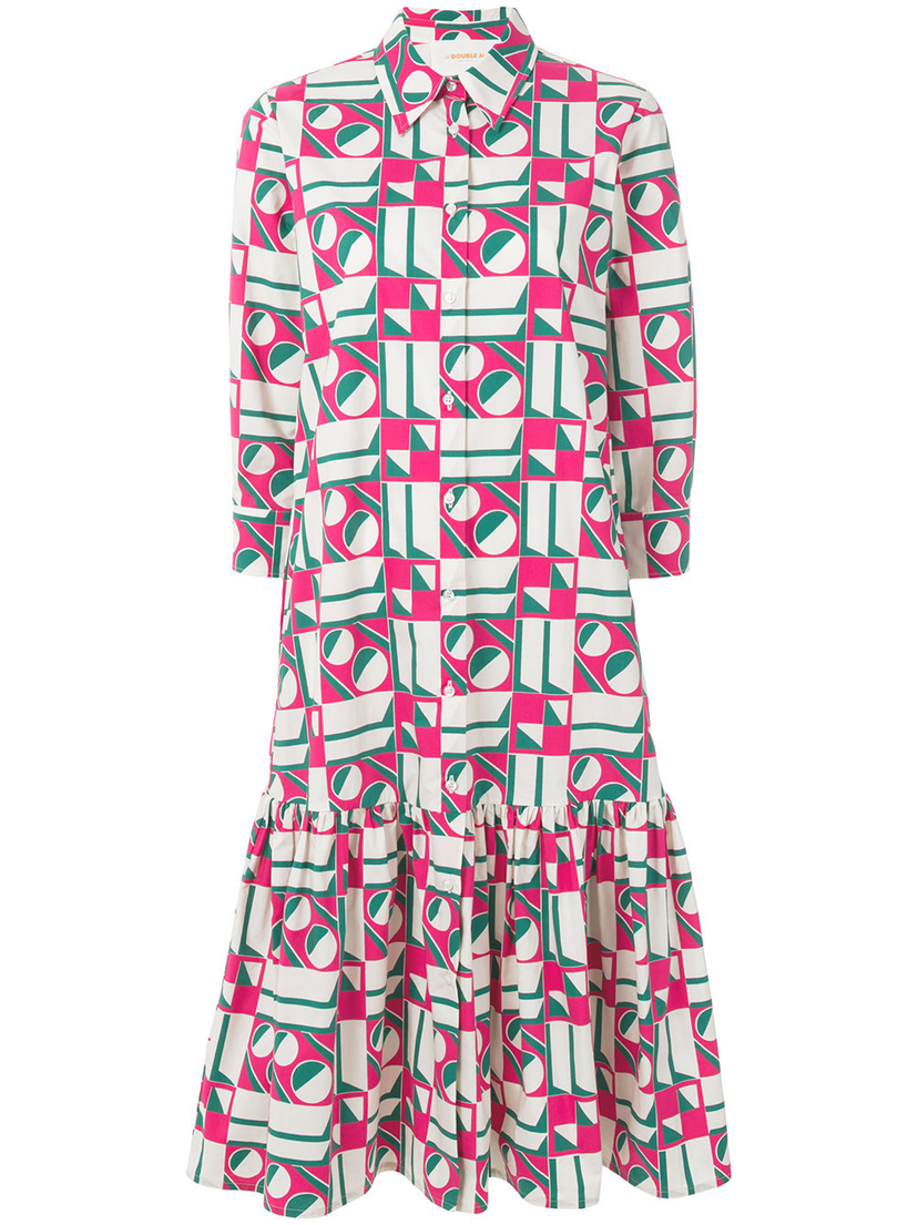 La Double J Long Sleeve Cotton Drop Waist Dress in Geometrico Rosa Dresses