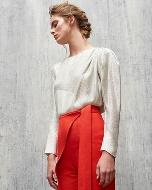 AUDRA Draped Puff Sleeve Top in Wave Lame & Crossover Pegged Trouser in Chili Red Pants Tops