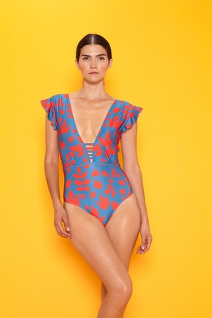 Carolina K Esmeralda Ruffle One Piece - Blue/Red Swimwear