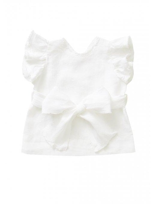 IL GUFO Baby Girl Linen Top with Bow  - White (Originally $134 - $138) Kids