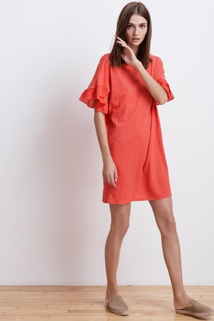 Velvet Sibel Cotton Slub Ruffle Dress Dresses