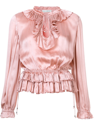 Ulla Johnson Long Sleeve Blouse in Rose Tops