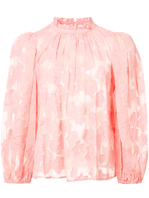 Ulla Johnson Sandrine Long Sleeve Peasant Top in Pink Tops