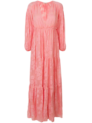 Ulla Johnson Margaux Flower Peasant Maxi Dress in Pink Dresses