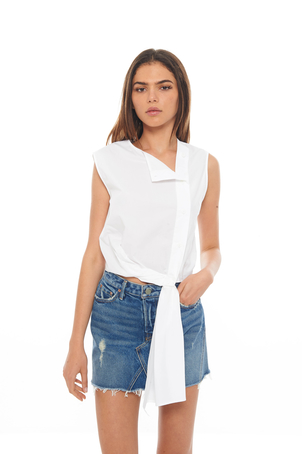 Dion Lee White Sleeveless Twist Shirt Tops