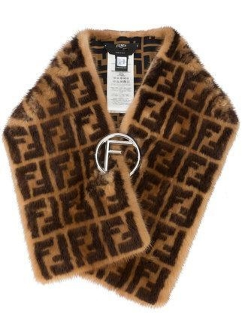 Fendi Fendi Zucca Mink Fur Collar Accessories