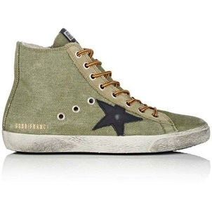 Golden Goose Deluxe Brand Francy Canvas & Suede Sneaker - Olive Shoes
