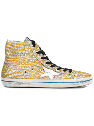Golden Goose Deluxe Brand Francy Sneaker - Silver/Yellow Glitter Shoes