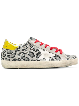Golden Goose Deluxe Brand Superstar Sneaker - Black Leopard/Cream Star Shoes