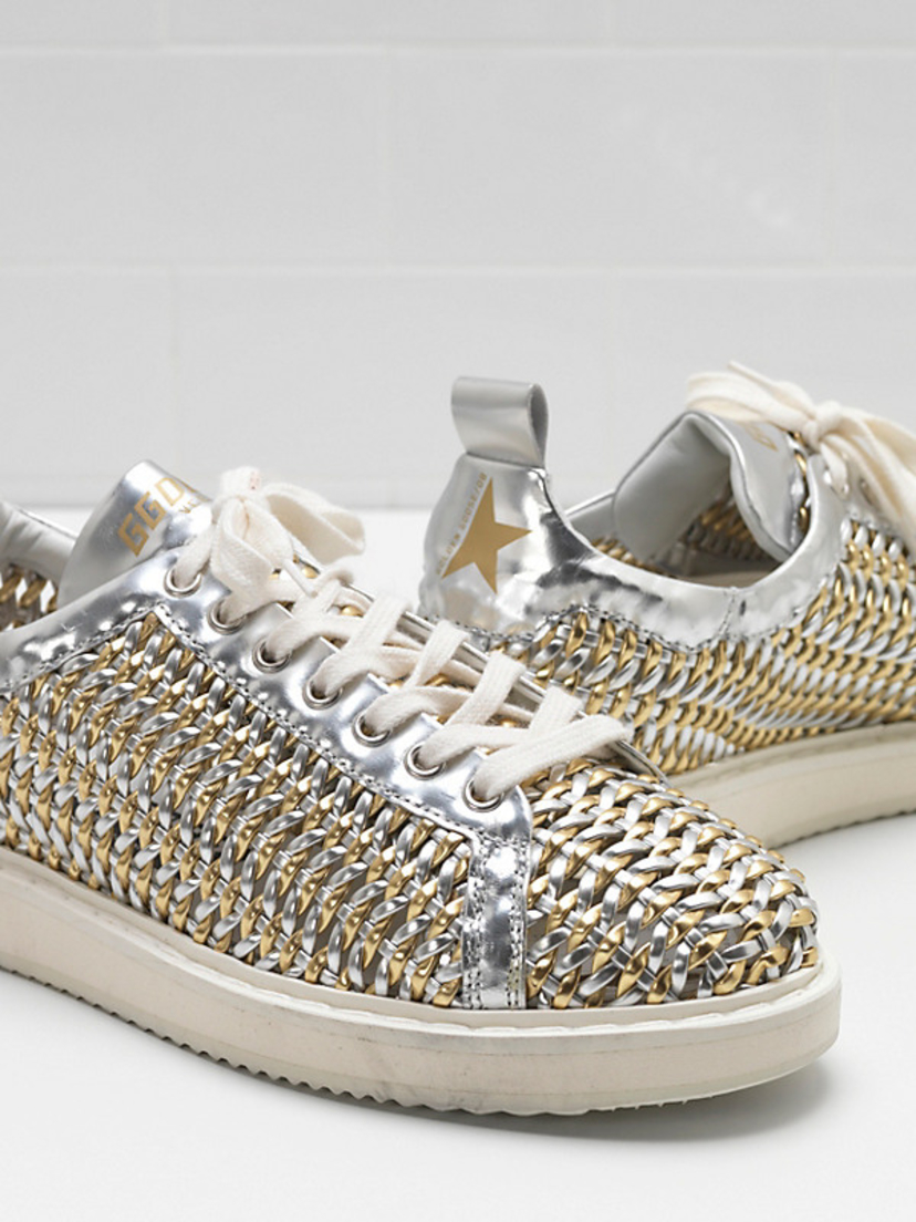 Golden Goose Deluxe Brand Starter Sneaker - Silver/Gold Cage Shoes