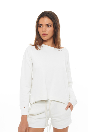 AMO White Boxy Sweatshirt Tops