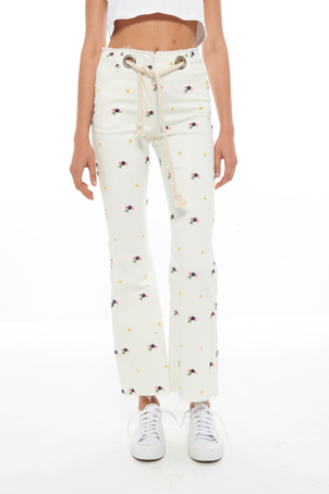 Miaou White Embroidered Mimi Jean