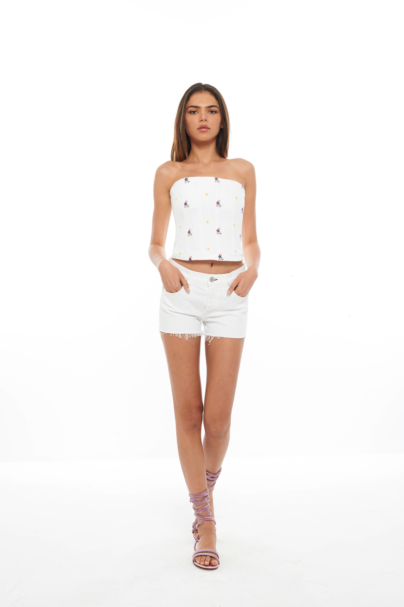 Miaou White Embroidered Lucy Corset (Was $350) Sale Tops