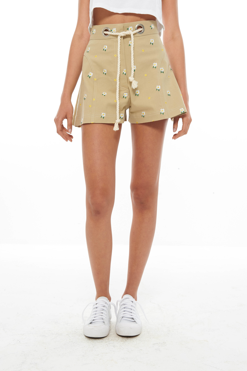 Miaou Khaki Embroidered Greta Short (Was $375) Sale