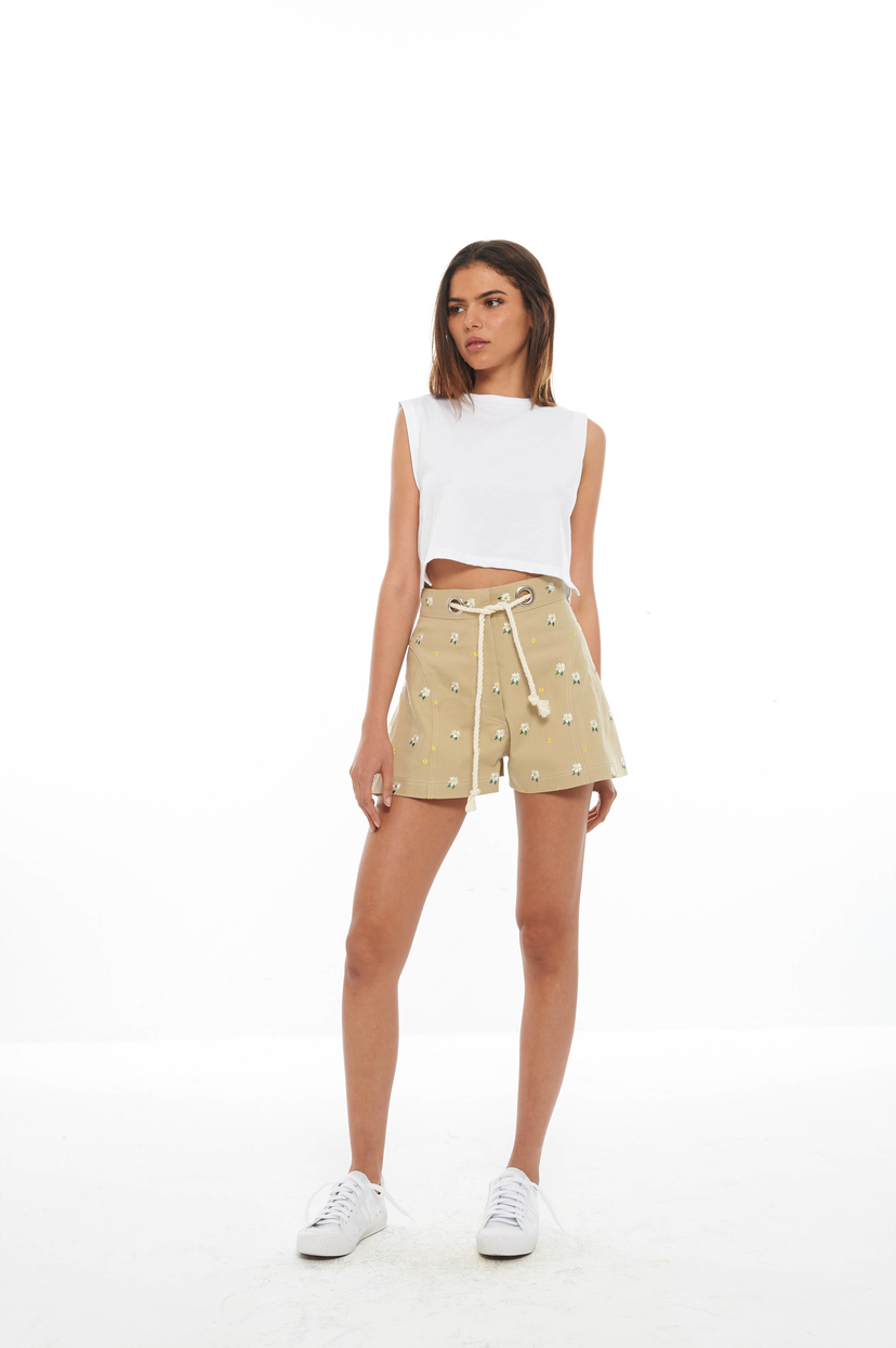 Miaou Khaki Embroidered Greta Short