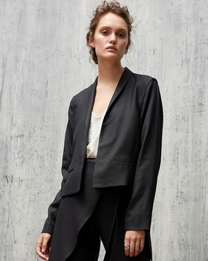 AUDRA Tuxedo Shawl Collar Jacket & Crossover Pegged Trouser in Black Linen Outerwear Pants