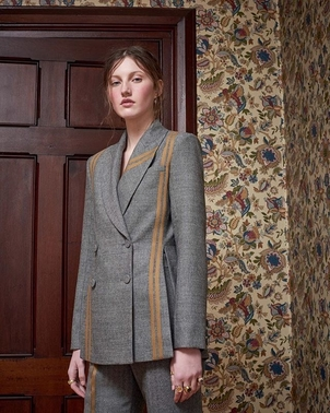 AUDRA Striped Wool Herringbobe Guideline suiting Outerwear