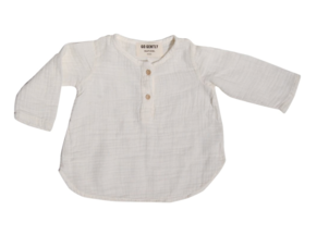 GO GENTLY NATION PLACKET GAUZE TOP - NATURAL