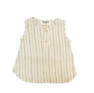 GO GENTLY NATION STRIPE PLACKET TANK - NATURAL HEMP STRIPE