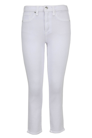"Veronica Beard Kate Crop 10"" Rise - White Pants"