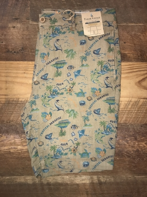 "Tailor Vintage 9"" Linen Dobby Walking Short in Tropical Paradise"