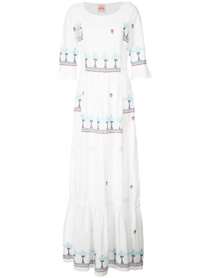 Le Sirenuse Tiered Embroidered Maxi Dress Dresses