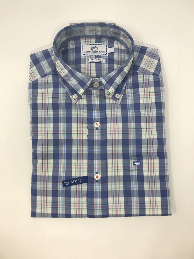 Southern Tide Great Harbor Plaid Long Sleeve Button Down in Dutch Blue Tops