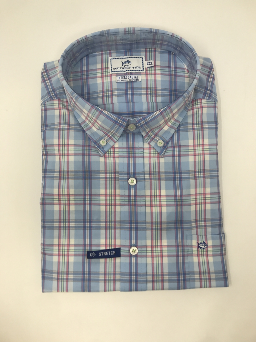 Southern Tide Great Harbor Plaid Long Sleeve Button Down in Sky Blue Tops