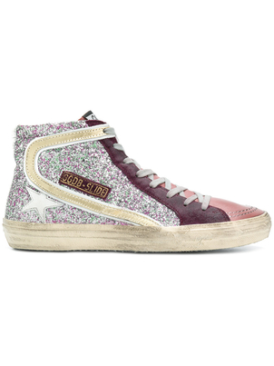 Golden Goose Deluxe Brand Glitter High Top Slide Sneakers Shoes