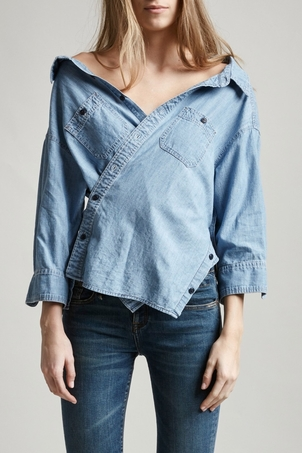R13 Indigo Chambray Shirt Tops