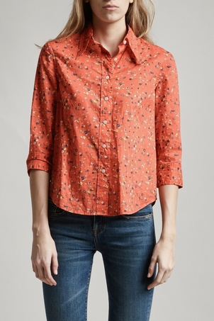 R13  Red Exaggerated Collar Shirt   Tops