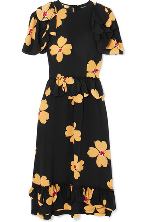 Simone Rocha Floral Crepe de Chine Midi Dress Dresses