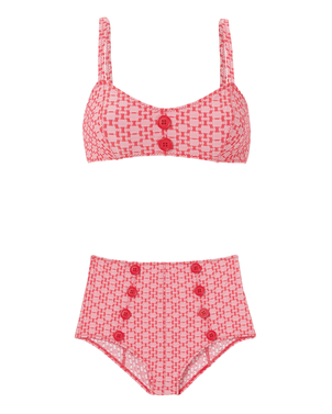Lisa Marie Fernandez Red Seersucker Bikini Set Swimwear