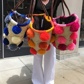 Large Pom Straw Bag