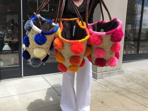 Soeur Du Maroc Large Pom Straw Bag Accessories Bags