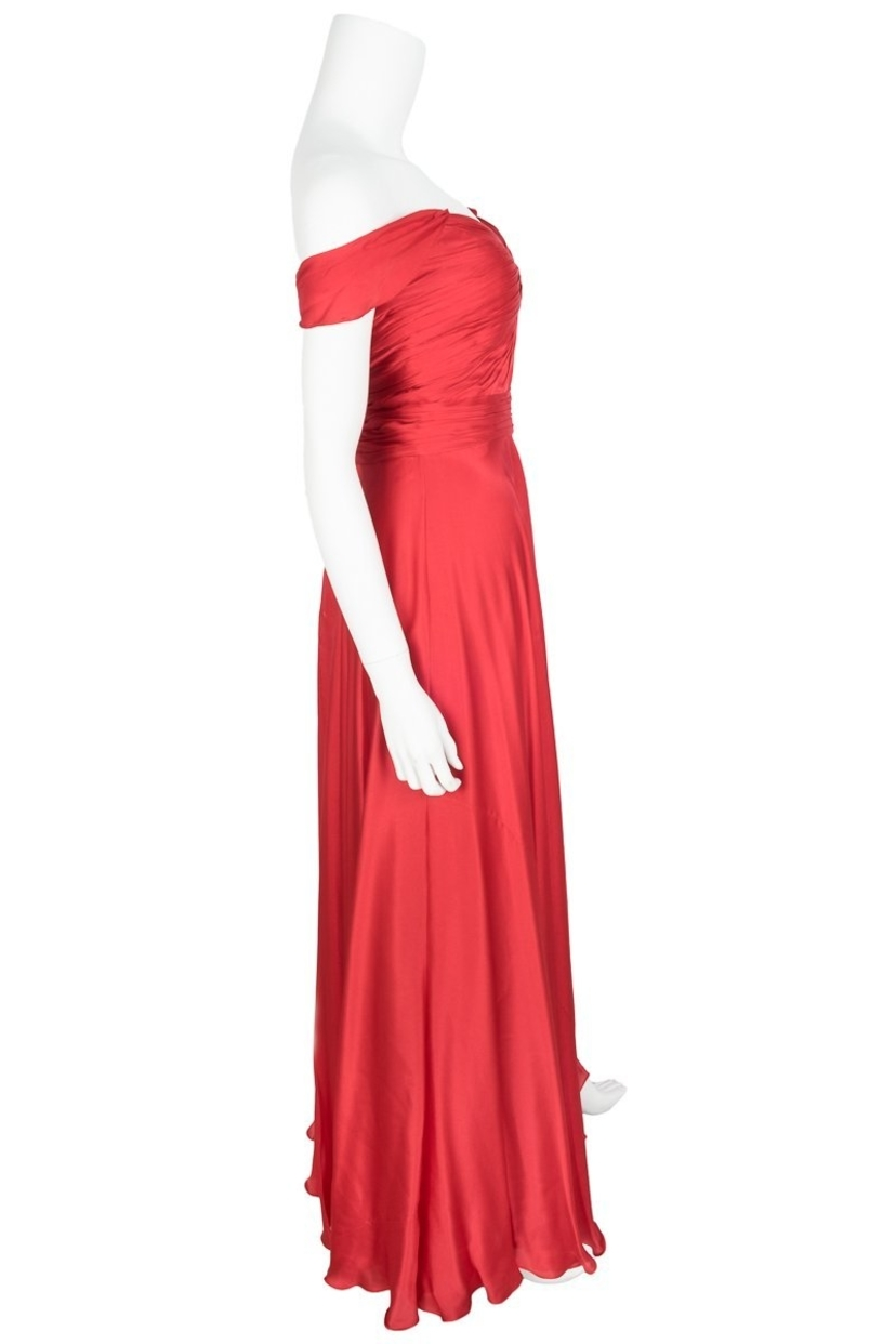 Monique Lhuillier Red Silk Sleeveless Evening Gown Sz 4 | House Account