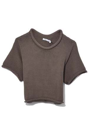 T by Alexander Wang Open Stitch Knit Cropped Sweater in Sage Tops