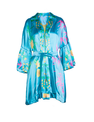 Dovima Paris Exclusive de Gournay Turquoise Opera Coat Outerwear