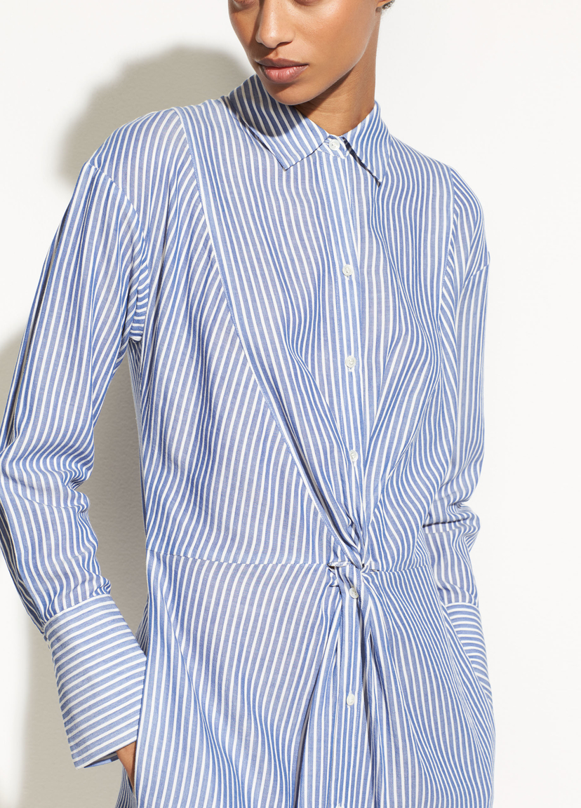 Vince Classic Stripe Twist Front Shirtdress Dresses