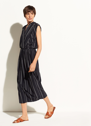 Vince Multi Stripe Draped Cross Front Dress Dresses