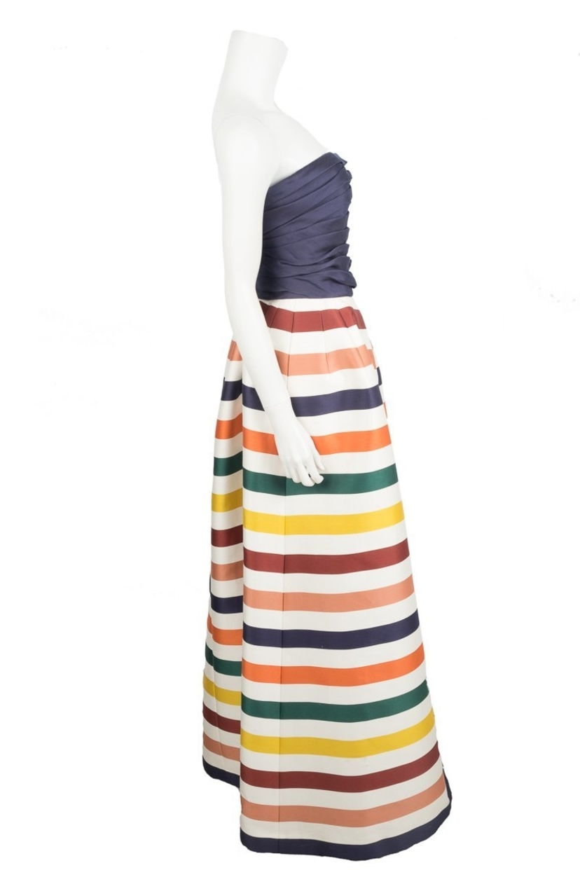 Carolina Herrera Navy And Multi Color Striped Gown/Evening Wear Sz 6 ...