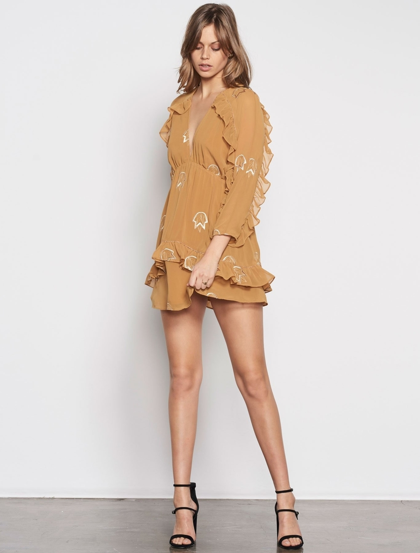 Stevie May How Long Embroidered L/S Mini Dress Dresses