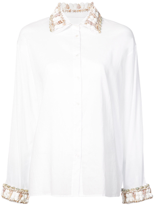 Rosie Assoulin Seashell Trim Button-Down Shirt Tops