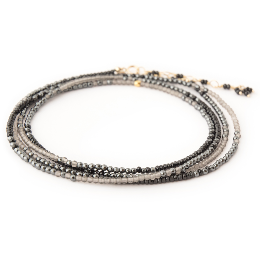 Anne Sportun Hematite, Black Spinel and Moonstone Ombré Wrap Bracelet Jewelry