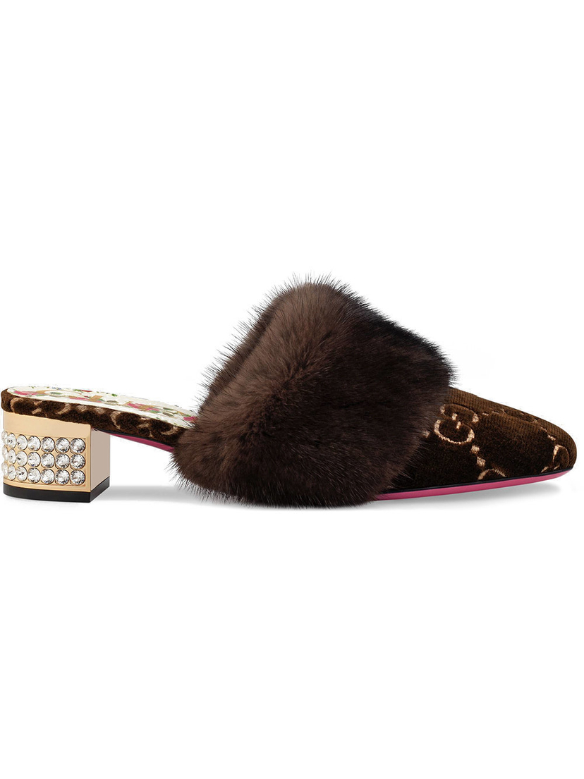 Gucci Candy Mule with Mink Shoes
