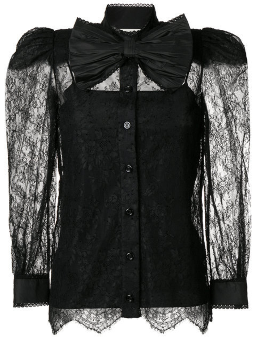 Gucci Black Lace Blouse Tops
