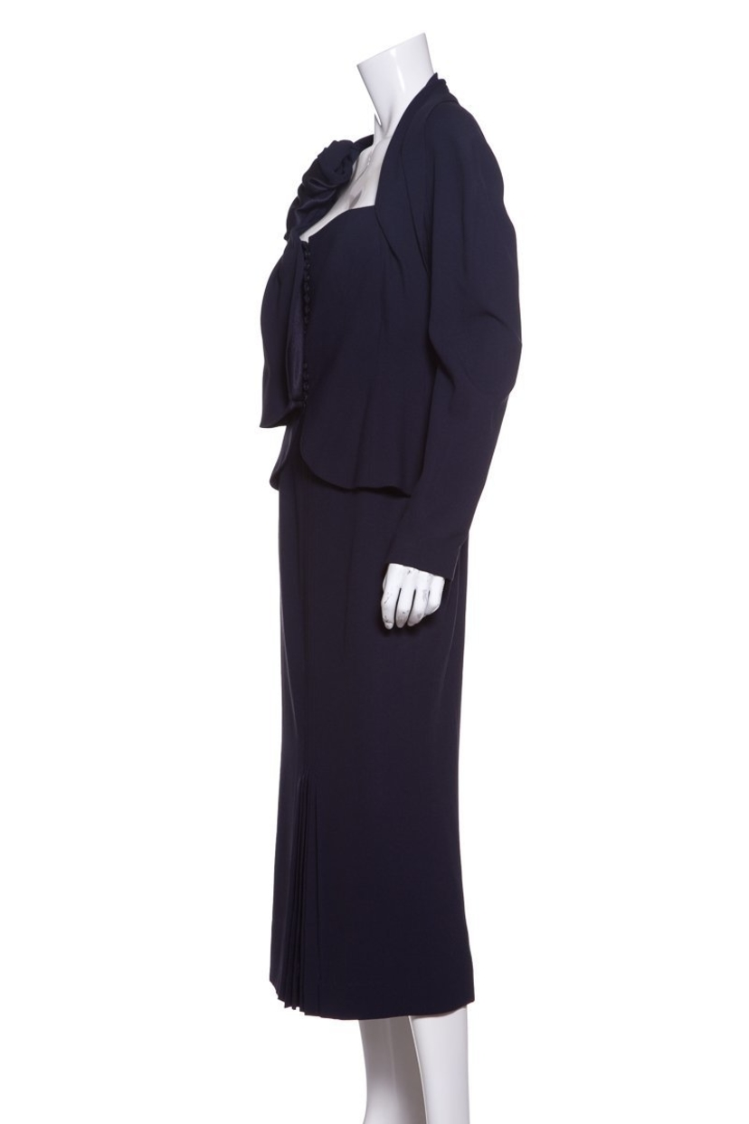 John Galliano John Galliano Navy Woven Skirt Suit SZ 10 Dresses