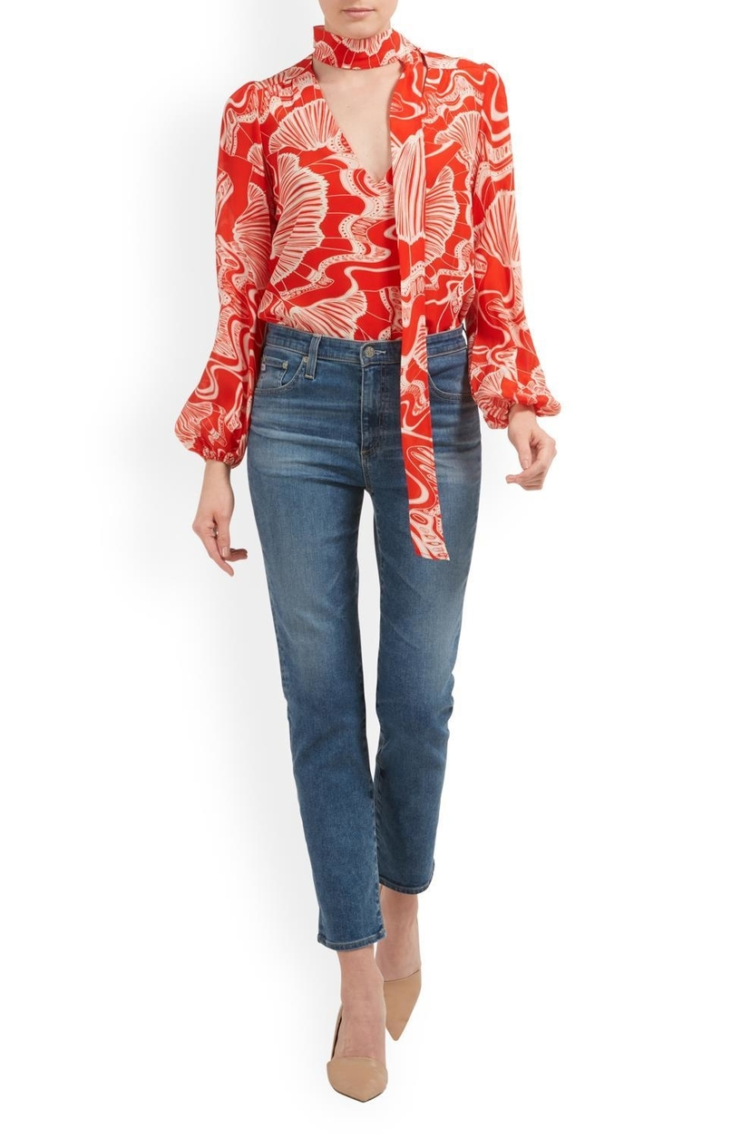 RIXO Moss Psychedelic Shell Print Blouse Tops