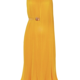 Pleating Sleeveless Dress with Belt in Sunray