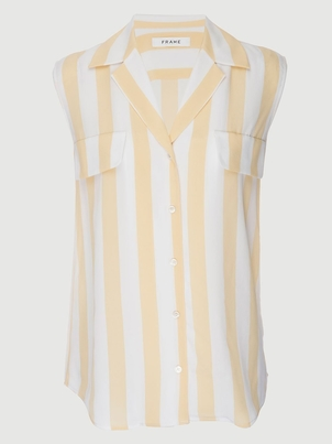 FRAME True Sleeveless Silk Shirt Tops
